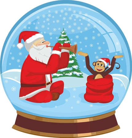 glass sphere: Glass sphere with Santa Claus and monkey