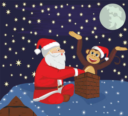 Santa Claus and monkey on roof Illustration