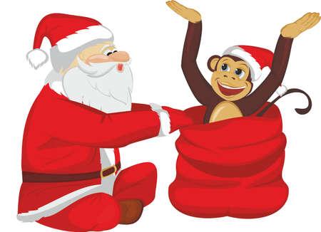 Santa gets out of the bag a monkey Illustration