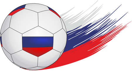 Soccer ball on the background of streaks in the form of the Russian flag.