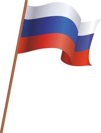 The flag of Russia isolated on white background