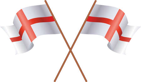 Two flag of England isolated on white background