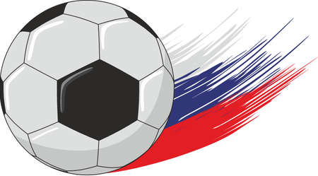 Soccer ball on the streaks in the form of the Russian flag.