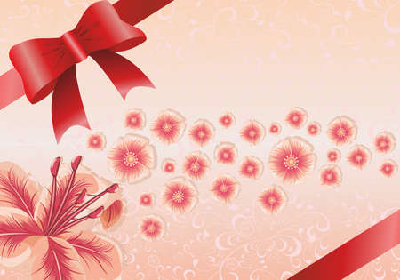Greeting card or invitation with floral background with red ribbon