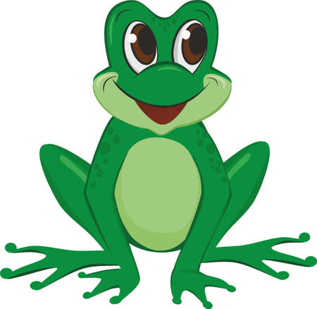 Cute frog cartoon isolated on white background  イラスト・ベクター素材