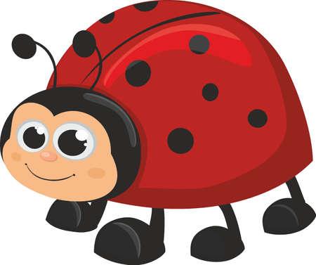 Cute ladybug isolated on white background. Vector illustration