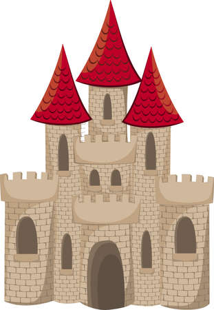 Cartoon medieval castle isolated on white