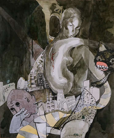 Original painting, a portrait of a girl among the gray environment with various characters
