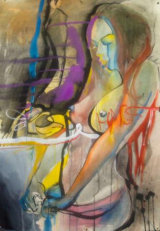 kunstschets van een jonge mooie vrouw en in doorzichtige rok Stockfoto