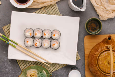 Japanese sushi on a white plate Reklamní fotografie