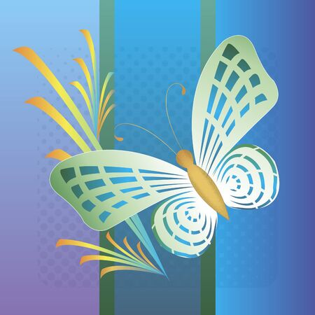 Decorative butterfly on a blue background and plants background. Wall art for interior decoration. Background for printing poster, banner, postcard. Иллюстрация