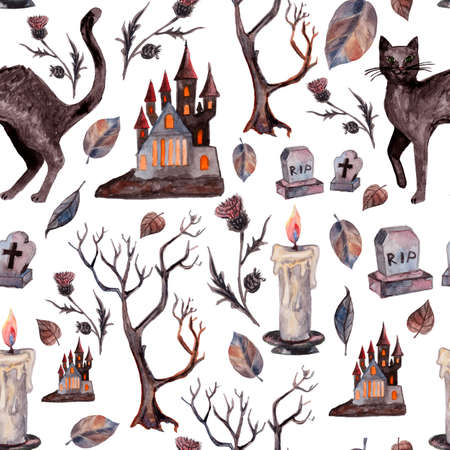 Watercolor seamless pattern with Black cat, withered tree, fallen leaves, dracula's castle for Halloween. Halloween patterns can be used for scrapbook, paper, textile print, party decoration. 版權商用圖片