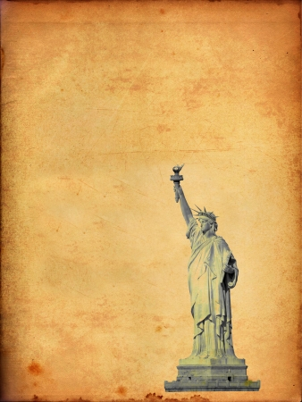 Statue of Liberty on old paper photo