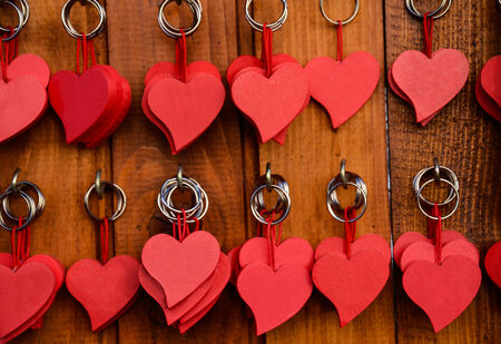 Red wooden heart key chain photo