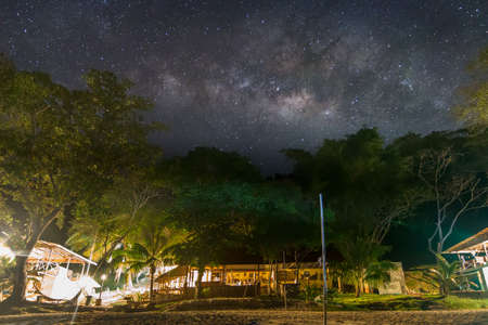certain: Milky Way galaxy at Borneo, Long exposure photograph, with grain.Image contain certain grain or noise and soft focus.