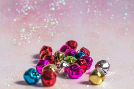 jingle bells: colorful jingle bells in the bottom