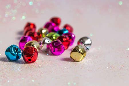 jingle bells: jingle bells colorful in left corner Stock Photo