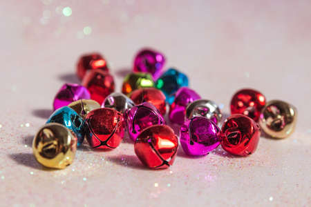 jingle bells colorful wit rose bacground Stock Photo