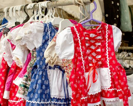 National Hungarian clothes hanging on hangers in the store