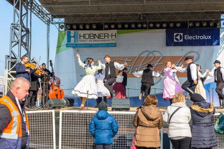Nyiregyhaza, Hungary, Februar 16, 2019. Hungarian folklore dance ensemble performance in traditional folk costume Editorial