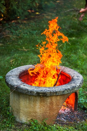 Dry branches burn in isolated campfire pit in the garden. High bright flames flickering on open garden fire pit Zdjęcie Seryjne