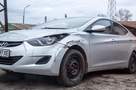 Kyiv, Ukraine - February 04, 2020: Close-up of a damaged car after accident