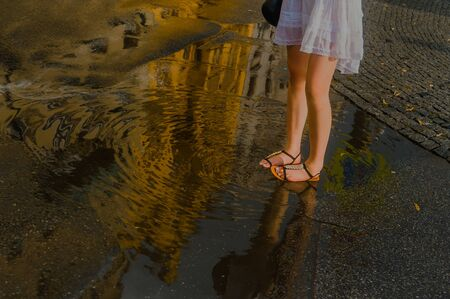 Playful Day in the Rain Prague Czech Republic 版權商用圖片