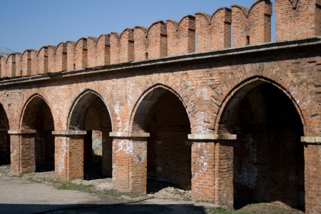 the wall of the tula kremlin and trading stalls