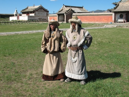 Mongolians in traditional dress