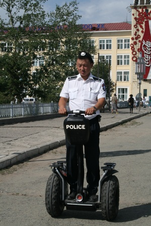 A police officer in Mongolia on segway Editorial