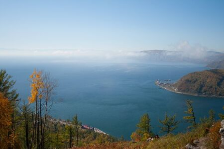 listvyanka: The view from the mountains in the village of Listvyanka on Lake Baikal