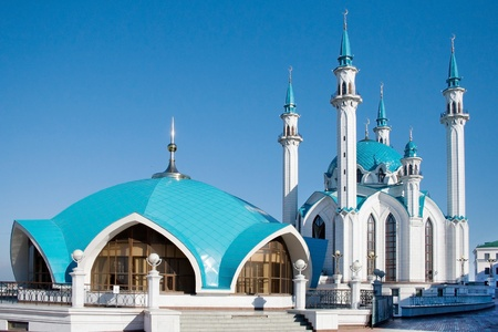The building of the main mosque in the city of Kazan, Tatarstan