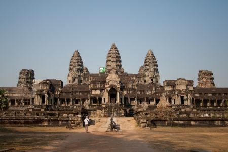 View of Angkor Thom temple complex in Angkor Wat