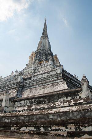 White stupa of Wat Thong Phuthao in Ayutthaya  Stock Photo