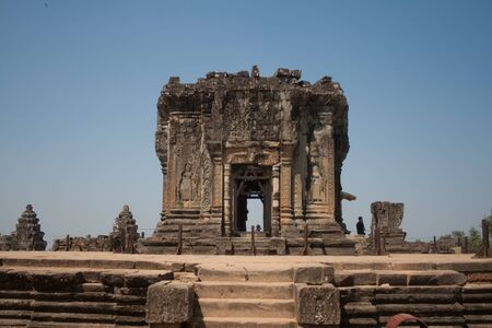The ruins of an ancient temple in Angkor, Cambodia