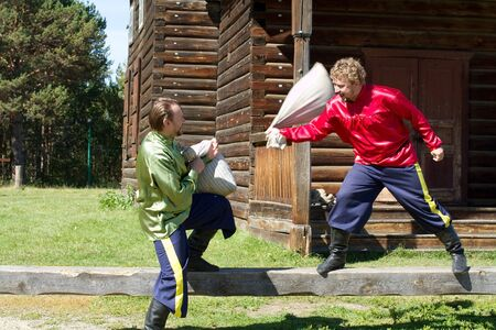 Russian folk amusement - a fight sacks photo