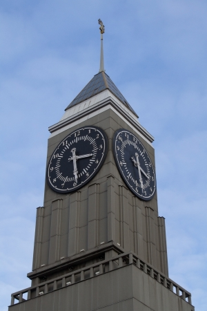 The clock tower in the center of Krasnoyarsk photo