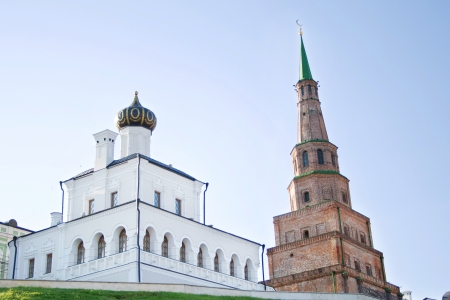 The Orthodox Church and Muslim leaning tower in Kazan