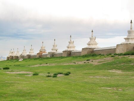 Fence with Buddhist stupas in the Mongolian ancient city