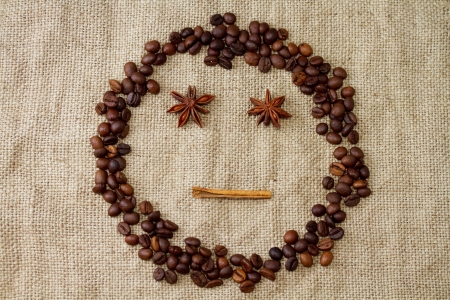 Cheerful smiley of coffee beans photo