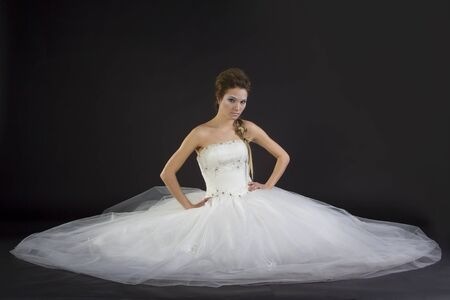 Young beautiful girl in a wedding dress on a dark background Stock Photo - 17280790