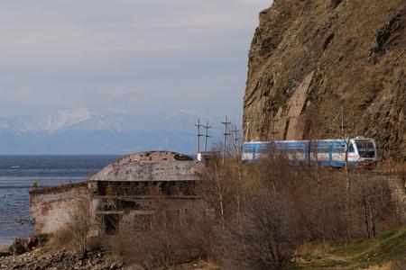 Modern train with tourists on Krugobaikalskaya railway