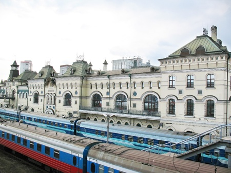 peron: The railway station in the city of Vladivostok and trains about Peron