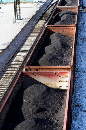Freight cars loaded with coal Stock Photo - 17990484