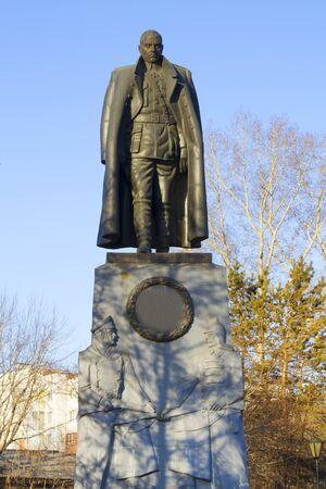 Monument erected near the monastery in Irkutsk shot the Admiral Kolchak