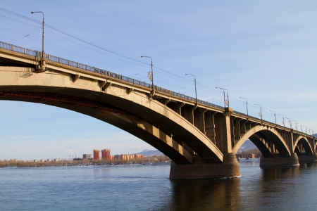 Bridge in Krasnoyarsk across the Yenisei River photo