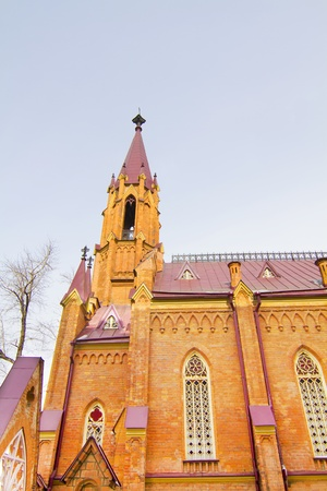 The building of the Catholic Cathedral in the Gothic style in the city of Irkutsk Stock Photo - 18409102