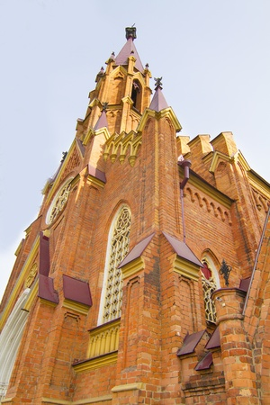 The building of the Catholic Cathedral in the Gothic style in the city of Irkutsk Stock Photo - 18409103