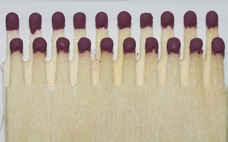 match head: Wooden safety matches arranged in two rows of packing