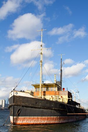 Old Russian ship at the dock in Krasnoyarsk on the Yenisei River photo